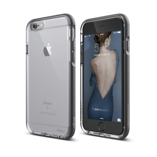 S6 Dualistic case for iPhone 6/6S - Clear + Dark gray