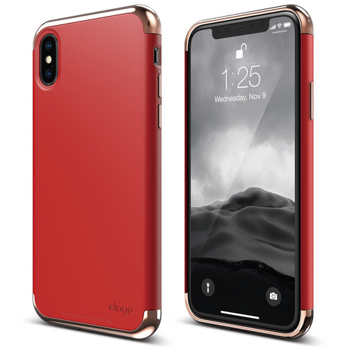 IPhone X Empire case - Rose Gold+Red